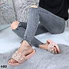Женские шлепанцы цвет пудра, экокожа +  декор бусинки, фото 3