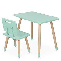 Детский деревянный столик и стульчик M 4256 Square mint Мятный | Дитячий стіл і стілець скандинавский стиль