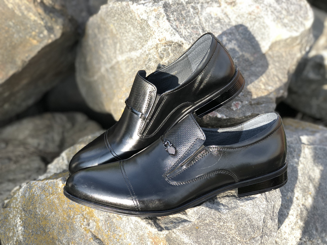 Кожаные мужские туфли 3464 чер размеры 39-45