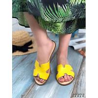 Кожаные женские шлепанцы H желтые, фото 1