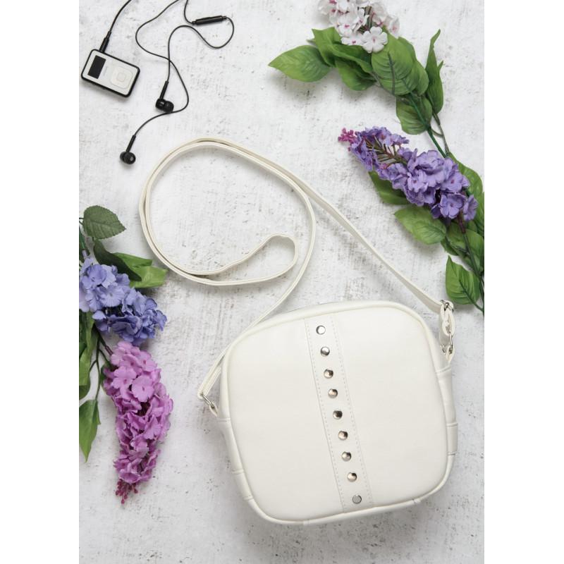 Стильная женская белая сумка кроссбоди с длинным ремешком через плечо матовая экокожа