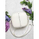 Стильная женская белая сумка кроссбоди с длинным ремешком через плечо матовая экокожа, фото 3