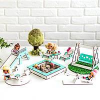 """""""Детская площадка"""" набор кукольной мебели NestWood для LOL, мятный"""