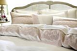 """Комплект постільної білизни сатин люкс """" з вишивкою і мереживом Pepper home 200*220 Dore krem, фото 6"""