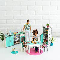 """""""Кухня"""" набор кукольной мебели NestWood для Барби, бело-мятная"""