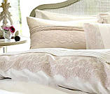 """Комплект постільної білизни сатин люкс """" з вишивкою і мереживом Pepper home 200*220 Dore krem, фото 5"""