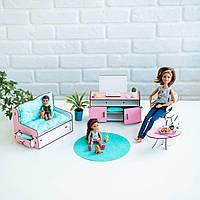 """""""Гостиная"""" набор кукольной мебели NestWood для Барби, бело-розовая"""