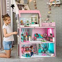"""""""ЛЮКС ЛАЙТ"""" кукольный домик NestWood для Барби, без мебели, розовый"""