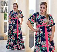 Платье в пол Розы Батальное Яркие Цветы с поясом Рукав до Локтя