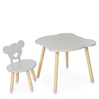 Детский деревянный столик и стульчик M 4255 Bear gray Серый | Дитячий стіл і стілець скандинавский стиль