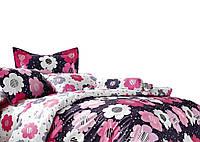 Комплект постельного белья Хлопковый Сатин С цветочным узором A255 M&M 6386 Белый, Фиолетовый, Розовый