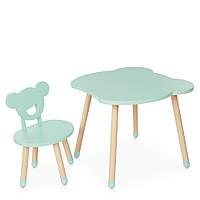 Детский деревянный столик и стульчик M 4255 Bear mint Мятный | Дитячий стіл і стілець скандинавский стиль