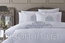 Комплект постельного белья сатин люкс с вышивкой и кружевом Pepper home 200*220 Pia silver
