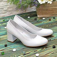 Туфли женские кожаные на устойчивом каблуке, цвет белый. 39 размер