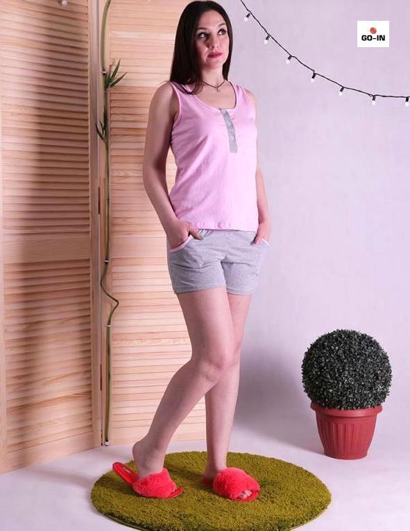 Пижама женская с шортами хлопок на лето розовая 42-54