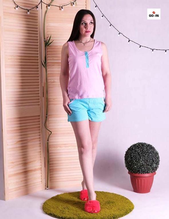 Пижама женская с шортами хлопок на лето розовая