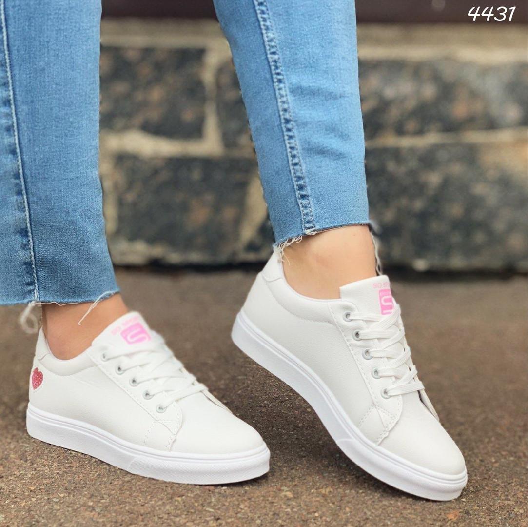 Женские кроссовки цвет белый, экокожа