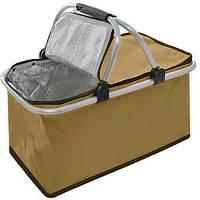 🔝 Термосумка для пикника (Коричневая, 30 л) термокорзина изотермическая для рыбалки, сумка-термос   🎁%🚚