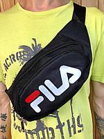 Поясная сумка черная в стиле FILA, 2 отделения (Бананка), из мессенджер pvc,на плече пояс, бананка фила