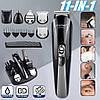Оригинал! Профессиональная машинка для стрижки волос, Триммер KEMEI (11 насадок + Подставка) - Фото