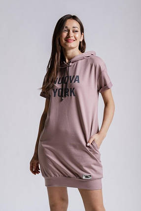 Платье женское летнее в спортивном стиле с капюшоном  (св.кофейный), фото 2