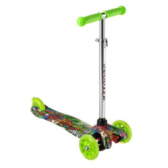 Самокат детский 906 с подсветкой колес | Зеленый