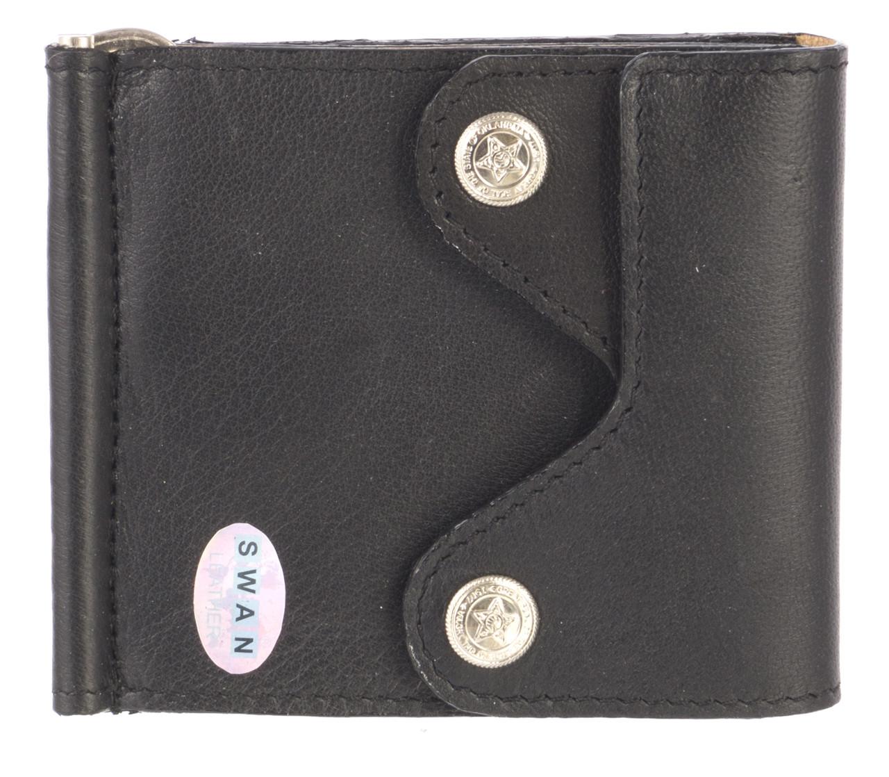 Недорогий шкіряний чоловічий гаманець з м'якої шкіри з затиском для грошей SWAN art. B 0014 BIG чорний