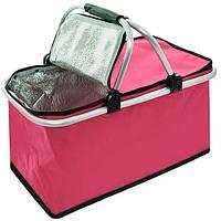 🔝 Изотермическая сумка-термос, дорожная (Розовая, 30 л) термокорзина-холодильник для еды (термосумка)   🎁%🚚
