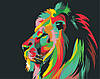 Картина по номерам Радужный лев Райдужний лев худ. Ваю Ромдони (цветной холст) 40*50см Розпис по номерах - Фото