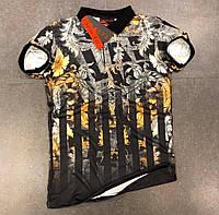 Мужская футболка хлопок поло летняя с принтом молодежная черная полосы Турция. Живое фото. Топ качество