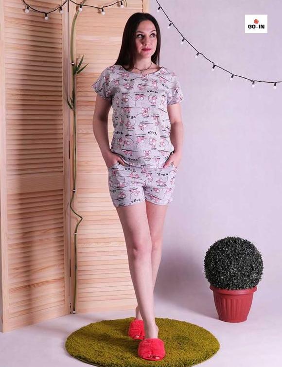Піжама жіноча футболка і шорти бавовна для сну сірий 42-54