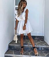 Платье прошва,белое/розовое,42-44,44-46