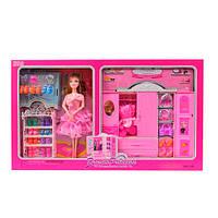 Мебель 288-20B (12шт) гардеробная, кукла28см(шарнирная),обувь, аксессуары, в кор-ке, 54-34,5-6,5см
