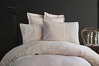 Комплект постельного белья сатин люкс с вышивкой и кружевом Тм Pupilla  200*220 Venedik lila, фото 1