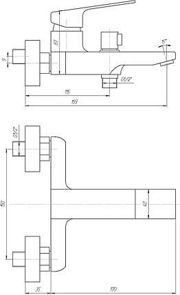 Змішувач для ванни Topaz ODISS-TO 18101-H52, душовий комплект, фото 2