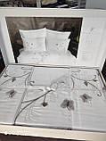 Комплект постельного белья сатин люкс с вышивкой и кружевом Тм Pupilla  200*220 Vita ecru, фото 3