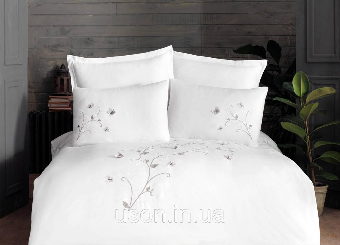 Комплект постельного белья сатин люкс с вышивкой и кружевом Тм Pupilla  200*220 Vita ecru