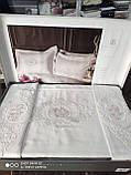 Комплект постельного белья сатин с вышивкой и кружевом Тм Pupilla Florya ekru, фото 3