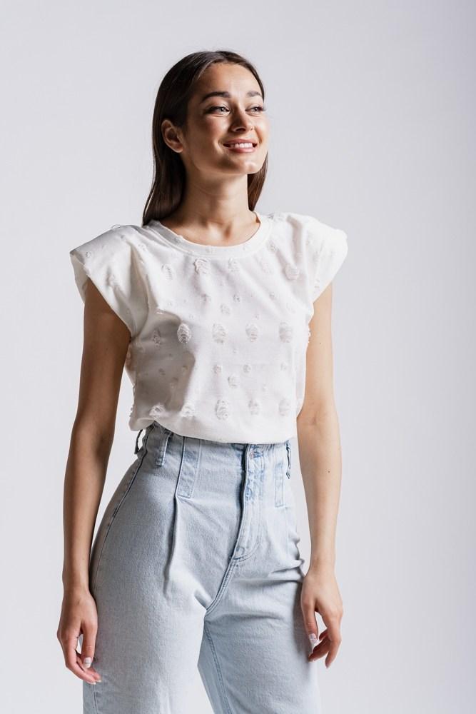 Жіноча рвана футболка з плічками