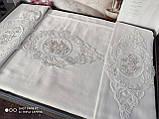 Комплект постельного белья сатин с вышивкой и кружевом Тм Pupilla Florya ekru, фото 2