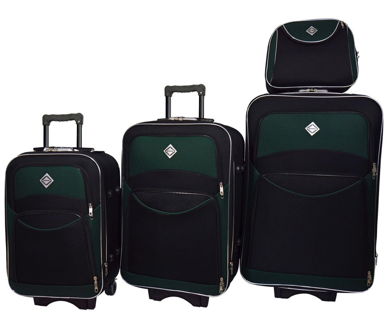 Набір валіз і кейс 4 в 1 Bonro Style чорно-зелений (10120410)