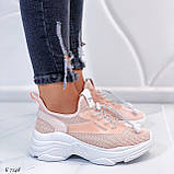 Кроссовки женские розовые (пудра)/ персиковые эко-кожа + текстиль, фото 2