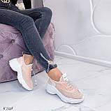 Кроссовки женские розовые (пудра)/ персиковые эко-кожа + текстиль, фото 7