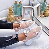 Кроссовки женские розовые (пудра)/ персиковые эко-кожа + текстиль, фото 3