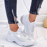 Женские кроссовки белые эко-кожа и текстиль на платформе, фото 1