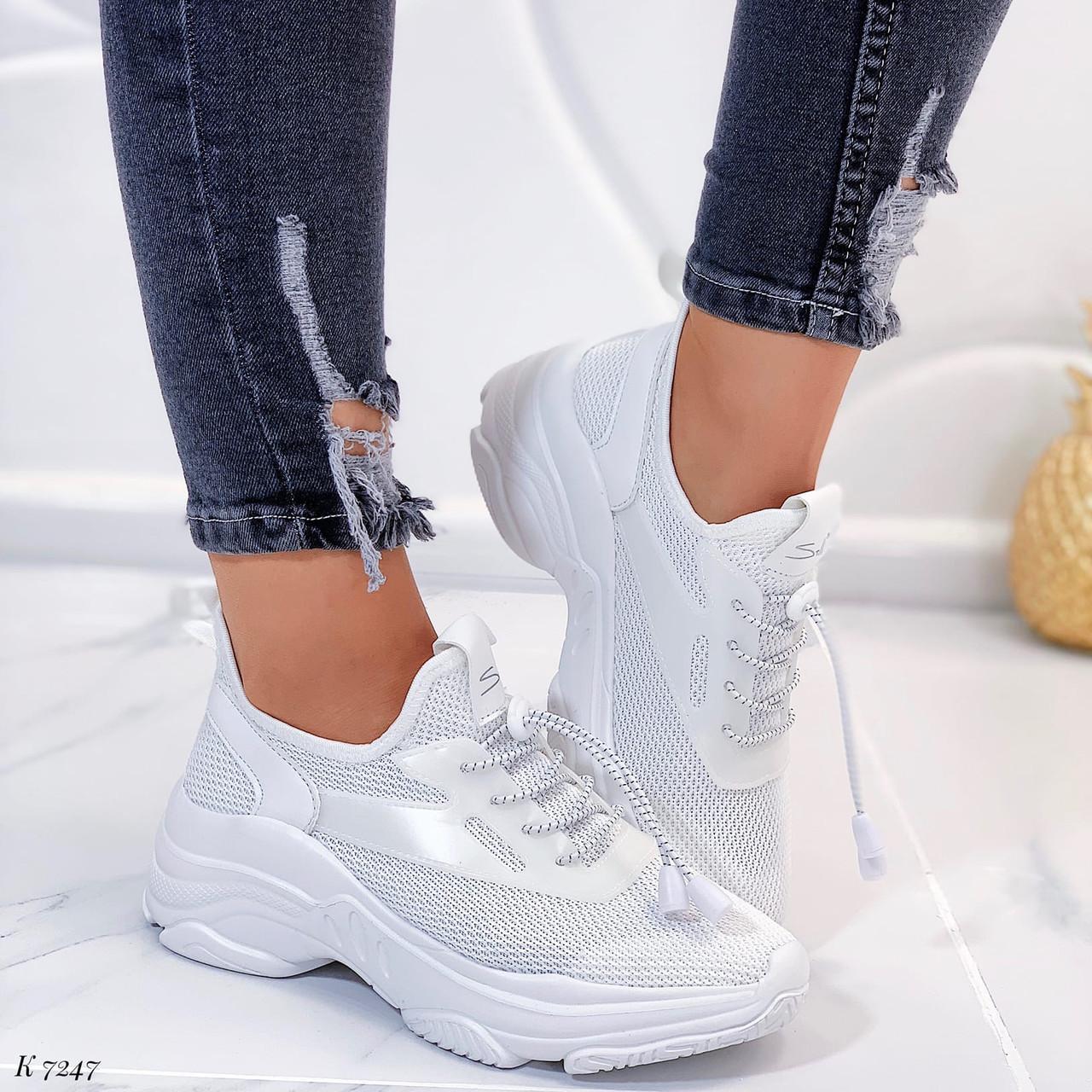 Женские кроссовки белые эко-кожа и текстиль на платформе