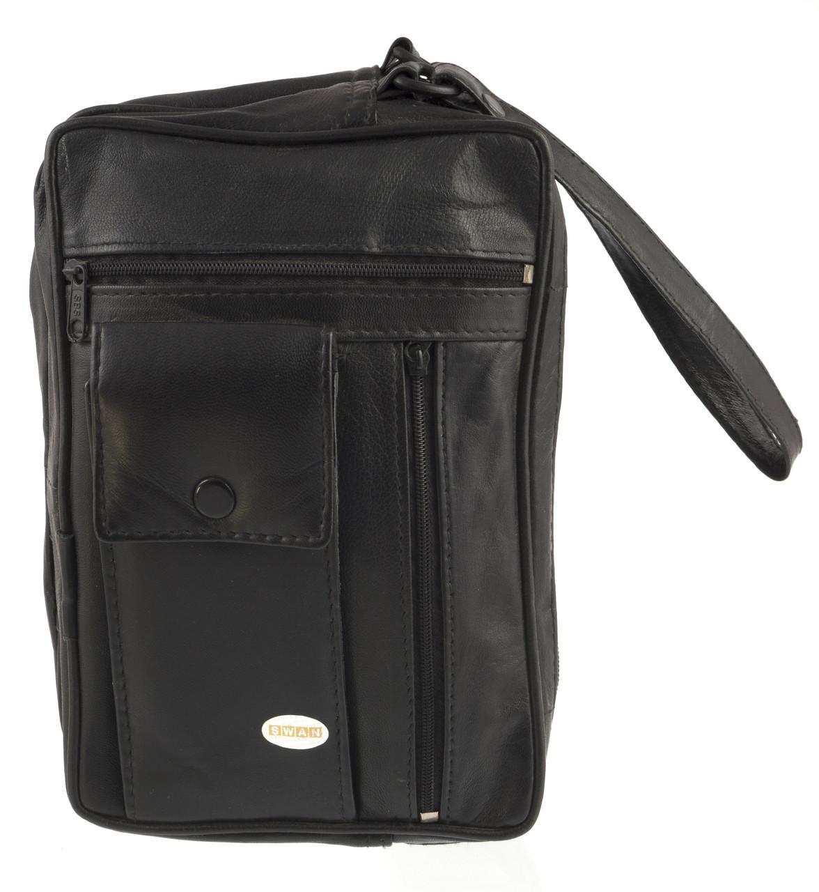 Мужская стильная черная сумка барсетка с ремешком на руку с натуральной кожи SWAN  art. на руку