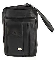 Мужская стильная черная сумка барсетка с ремешком на руку с натуральной кожи SWAN  art. на руку, фото 1