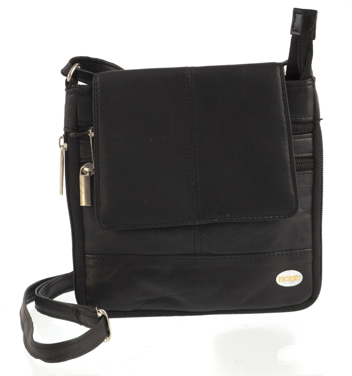 Мужская стильная черная наплечная сумка с натуральной кожи SWAN  art. с клапаном на магните