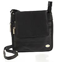 Мужская стильная черная наплечная сумка с натуральной кожи SWAN  art. с клапаном на магните, фото 1